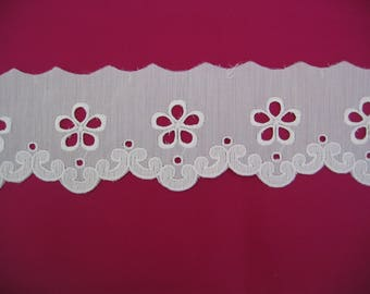White polyester and cotton eyelet lace