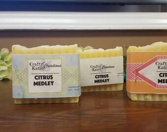 Cold-processed Soap Bars Citrus Essential Oils  COCONUT OLIVE CANOLA Oil Base Soap Bars  3.5 - 4 oz