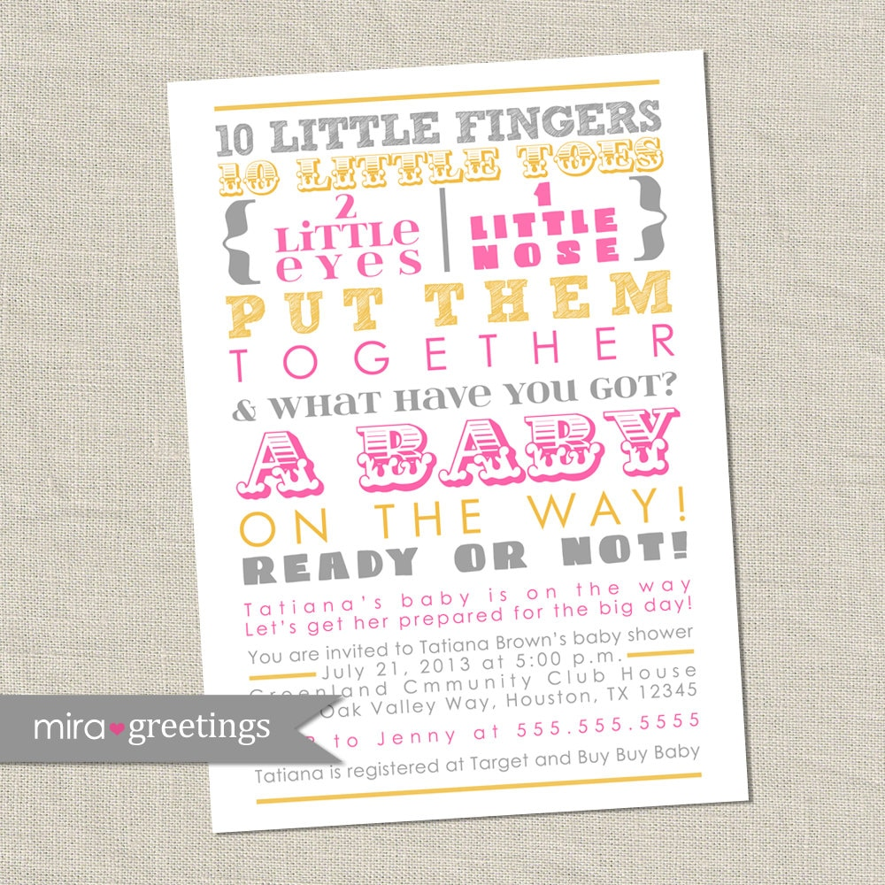 Pink Yellow Gray Baby Shower Invitation colorful words baby girl