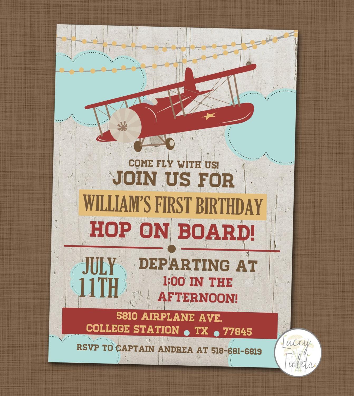 Airplane birthday party invitation First birthday invite Baby