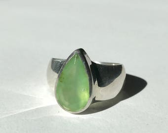 Faceted Chrysoprase Ring US 7