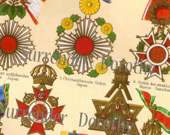 Medals Awards Asian Countries Victorian Illuminated Chromolithograph Chart From Germany 1887