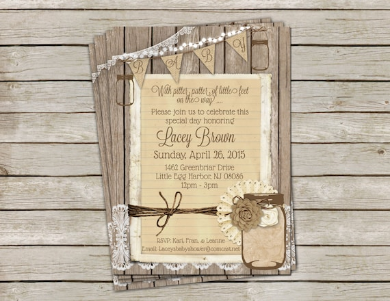 Rustic Gender Neutral Baby Shower Invitation with Burlap Lace