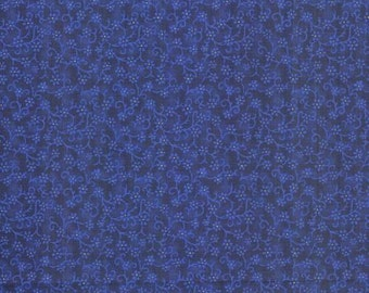 Floral Fabric, Florina by Blank Quilting, Blue Floral Fabric, Blue Fabric, Blue Flowers, 02042