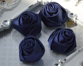 """1.5"""" Navy Blue Satin Fabric Roses, Satin Rolled Rosettes, Satin Flowers, Rolled Roses, Rolled Satin Roses, Satin Flowers, Satin Roses"""