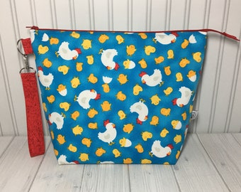 Large Wedge Bag with Handle - Chickens