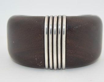 Signed 1940's William Spratling Mahogany & Sterling Silver Bracelet Cuff