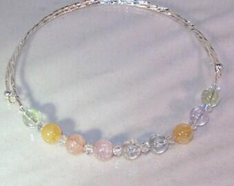 Gemstone & Swarovski Crystal Necklace - Memory Wire - 8mm Ice Flake Quartz with Clear AB Swarovski Crystals