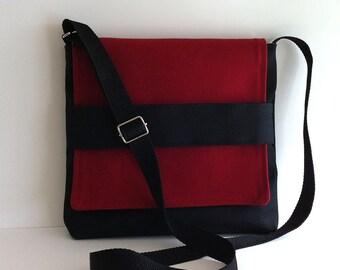 Black messenger bag Small crossbody bag Canvas side purse Women shoulderbag Vegan travel purse Black cross over purse Handmade bags  Canada