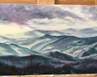Majestic Purple Wayah Bald, NC Mountain view oil painting