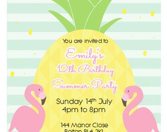 Printed Personalised Summer Party Birthday Invitations X10