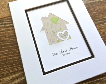 Our First Home - Personalized Home Map Matted Gift- My First Home Gift- New House Housewarming Gift- Closing Gift Realtor