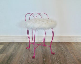 Upcycled Fuchsia Pink Vanity Stool, Retro Pink Painted Wrought Iron Stool,  White Faux Fur, Glam Boudoir Chair, Mid Century Decor