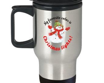 Christmas Lights travel mug