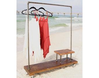 Clothing rack with stand, garment rack, clothes rack, industrial, rack, furniture, coat rack, storage, pipe rack, clothing storage, vintage