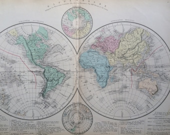 Mappe monde etsy 1866 mappe monde antique world map gumiabroncs Images