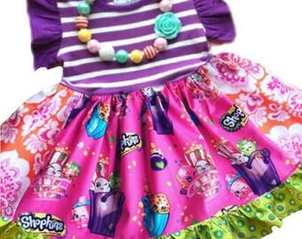Shopkins dress girls Shopkins birthday party dress toddler Shopkin outfit custom handmade Momi Boutique