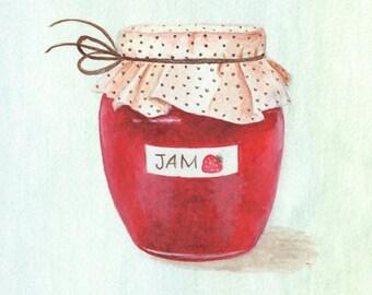Strawberry Jam, Kitchen Art, Art Print 8x8
