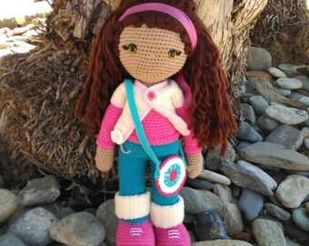 Muñeca amigurumi, amigurumi, muñeca personalizada,muñeca de crochet con pelo largo