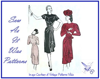 1940s Butterick 3932 Unused FF Jewel Neck Dresses Side Drape Cascade Bow Tie Shaped Yoke  Womens Vintage Sewing Pattern Plus Size 18 Bust 36
