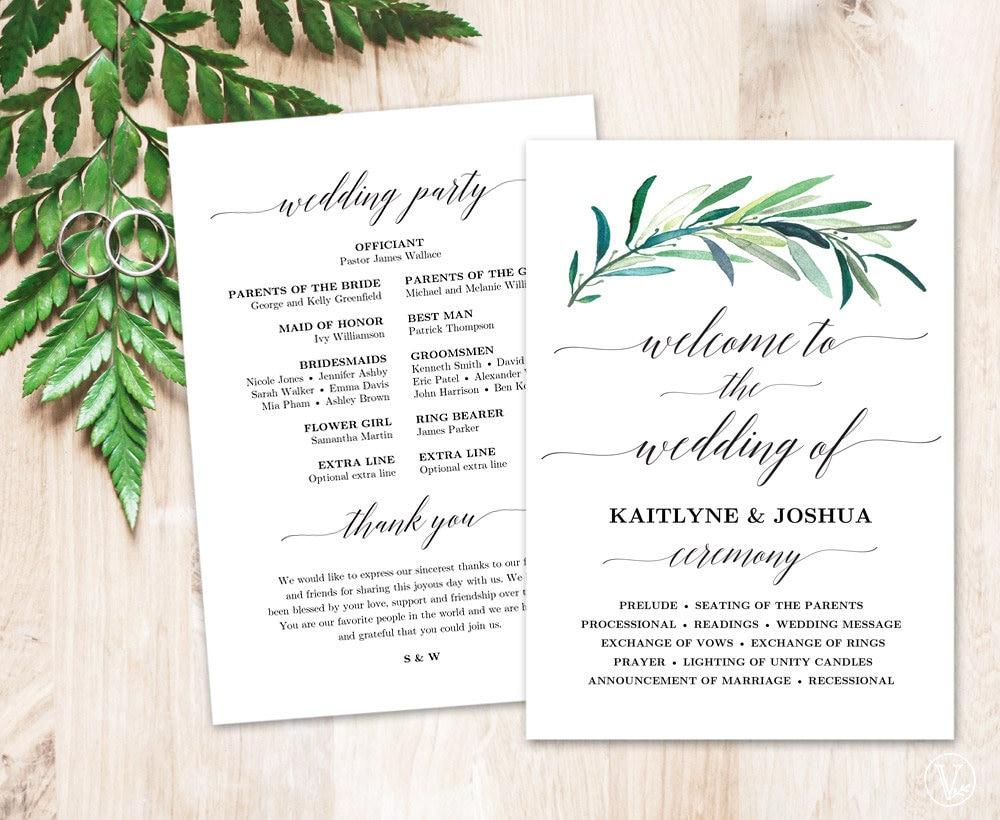 greenery wedding program template printable wedding programs
