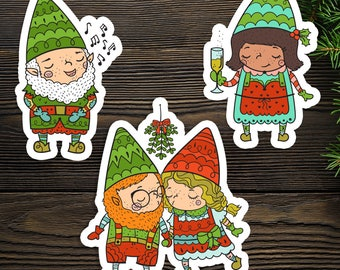 Gnome Friends Die Cuts, Holiday Edition, Set of 3, Plantasia Friends, Christmas, Gnarley, Rosa Maria, Calvin and Gnaomi