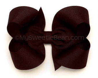 """Maroon Bow, 4 inch Hair Bow, Raisin Boutique Bow, Basic Bow for School, 4"""" Hairbow, Baby Toddler Girl, School Uniform Matching Bow, Maroon"""