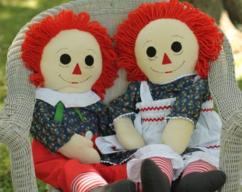 Vintage Hand Made Raggedy Anne and Andy Style Rag Dolls, Over Sized Raggedy Anne + Andy, Life Sized, Large, Handcrafted, Collector Dolls