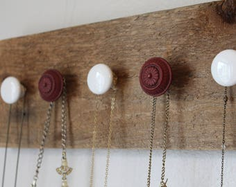 Wall Hanging Necklace Holder | Wall Mount Necklace Organizer | Wall Hanging Jewelry Organizer | Rustic Barn Wood Necklace Holder Organizer