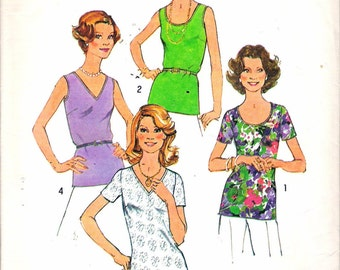 """Vintage 1977 Simplicity 7911 Women's Tops Simple To Sew Sewing Pattern Size 40 - 42 Bust 44"""" - 46"""" UNCUT"""
