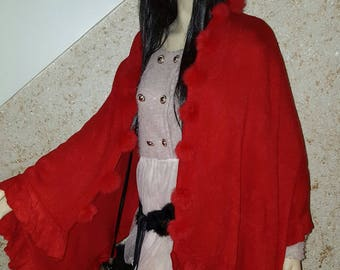 Cape / shawl with red rabbit fur tassels one size