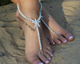 Rhinestone Starfish Bridal Foot Jewelry Wedding Sandals Pearl Barefoot Sandal Starfish Foot Jewelry Wedding Starfish S