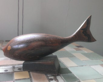 Vintage Ironwood Dolphin Hand Carved Figurine