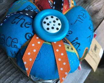 Pin Cushion, Jar of Buttons, Fabric, Quilters, Sewing Notions, Storage