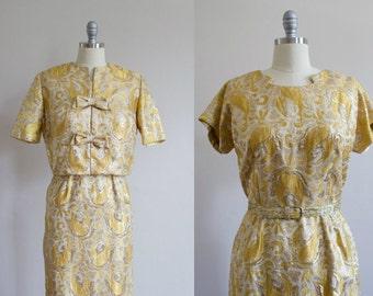 1950's Metallic Gold Wiggle Dress / Matching Jacket / Bolero M/L