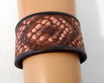Tooled Snakeskin Leather Cuff Bracelet Wrist Jewelry Western Boho Country Rockabilly