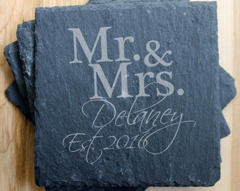 SET OF 4 Personalized Slate Coasters/Laser Engraved