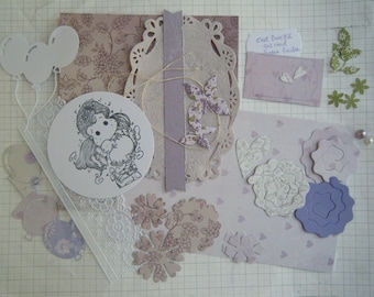 "Kit and tutorial for ""Friendship"" very floral with a character card"