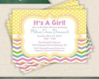 Yellow Polka Dots and Pastel Chevrons - Pink, Green, Blue, Purple Invitation Printable - Personalized for Any Event Add a Photo If You Like