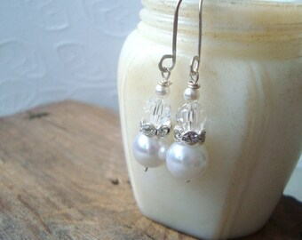Bridal Earrings White Vintage Crystal Rhinestone and Pearl Shabby Chic Wedding Pearl Jewelry June Birthstone Gifts Under 30
