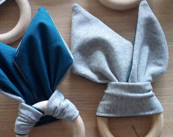 GREY TEETHING RING for baby shower. Wooden teether. Baby teether made by natural wood & linen. Grey and blue Montessori