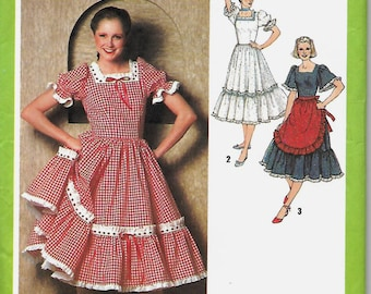 VTG Misses Square Dance or Western Dress and Apron Pattern, Simplicity 9103, Sizes 10 & 14, UNCUT