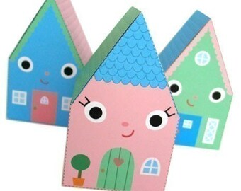 Happy Home Favor Box Printable Paper Craft PDF
