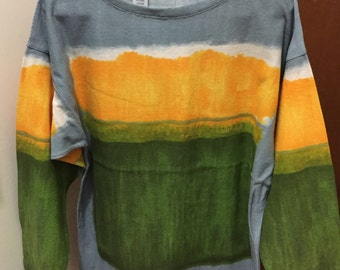 Vintage colorful Ghinea Italy sweater. Yellow, Green, Gray color blovk sweater. Lightweight, comfortable. Italian Designer.