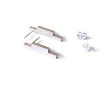 Linear Collection - Earrings - sterling silver contemporary jewelry abstract urban geometric pair everyday daily simple minimal