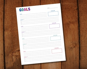 Goal Sheet New Years Resolution Business Goals Planning Page- 8.5 x 11 PDF Digital File