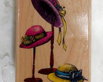 Embosing Arts Wood Mounted Rubber Stamp Three Hats 1997