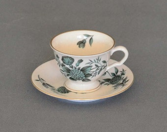 Vintage Pickard China Diana Green Tea Cup and Saucer -  Pattern No 1072 - Made In USA