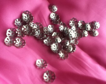 60 10-mm Silver-Plated Filigree Bead Caps