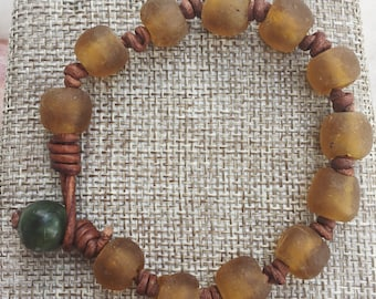 Yellow Ghana Glass Bracelet / Leather Stacking Bracelet
